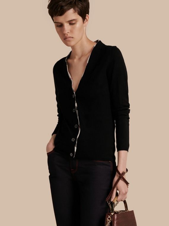 Check Placket Wool Cardigan Black