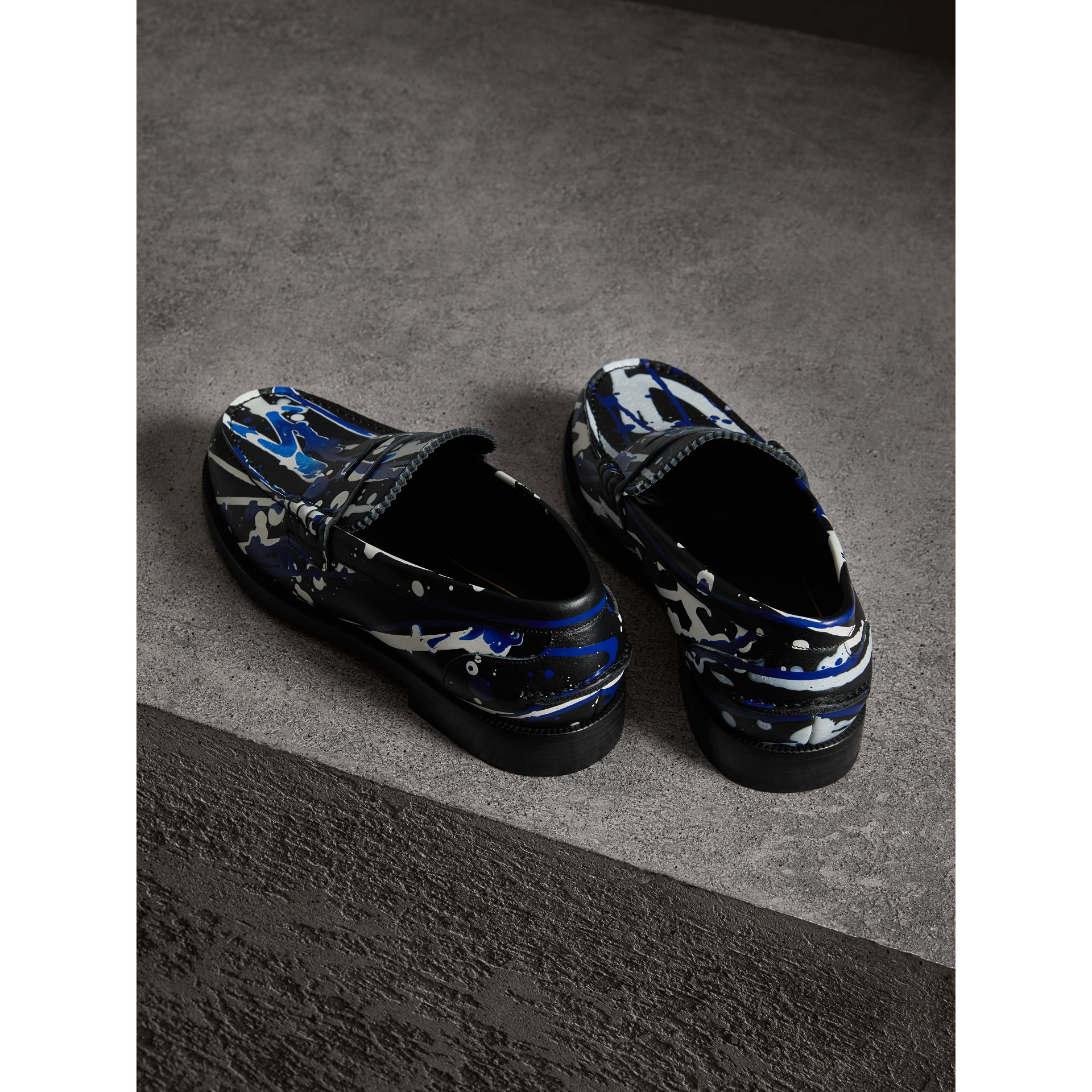 Mocassins Penny Loafers en cuir à imprimé Splash (Noir) - Homme | Burberry - photo de la galerie 2