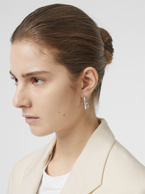 Palladium-plated Hoof Earrings - Women | Burberry - cell image 2