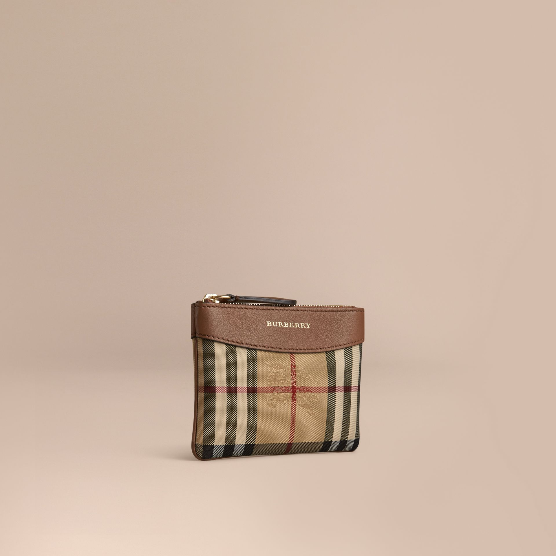 Tan Horseferry Check and Leather Pouch Tan - gallery image 1