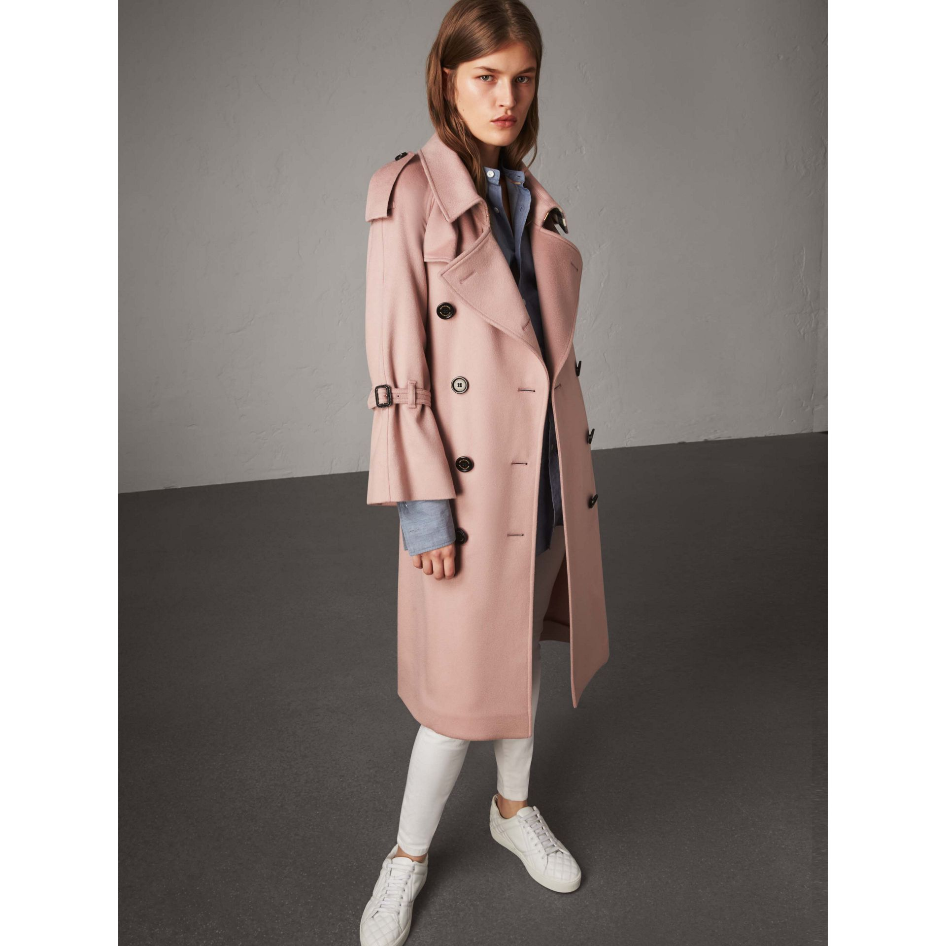 Ruffled Storm Shield Cashmere Trench Coat in Chalk Pink - Women | Burberry Singapore - gallery image 1