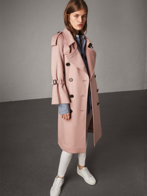 Ruffled Storm Shield Cashmere Trench Coat in Chalk Pink - Women | Burberry Canada