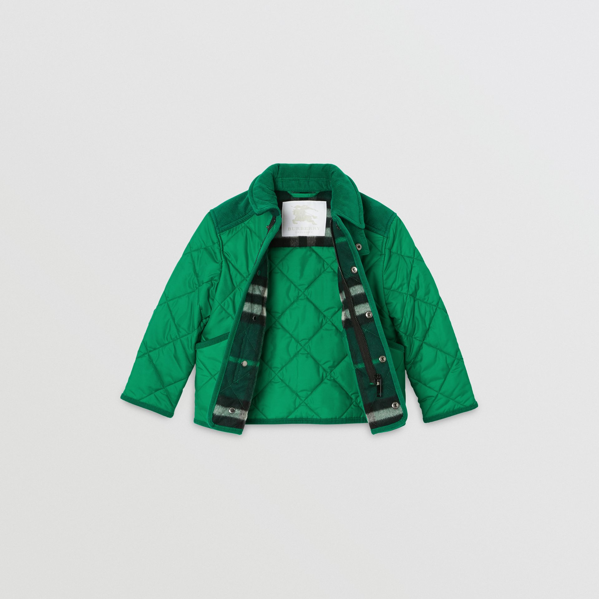 Corduroy Trim Diamond Quilted Jacket in Vibrant Green | Burberry - gallery image 3
