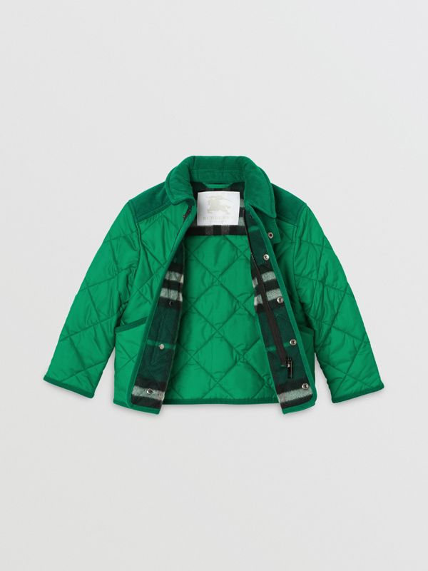 Corduroy Trim Diamond Quilted Jacket in Vibrant Green | Burberry United Kingdom - cell image 3