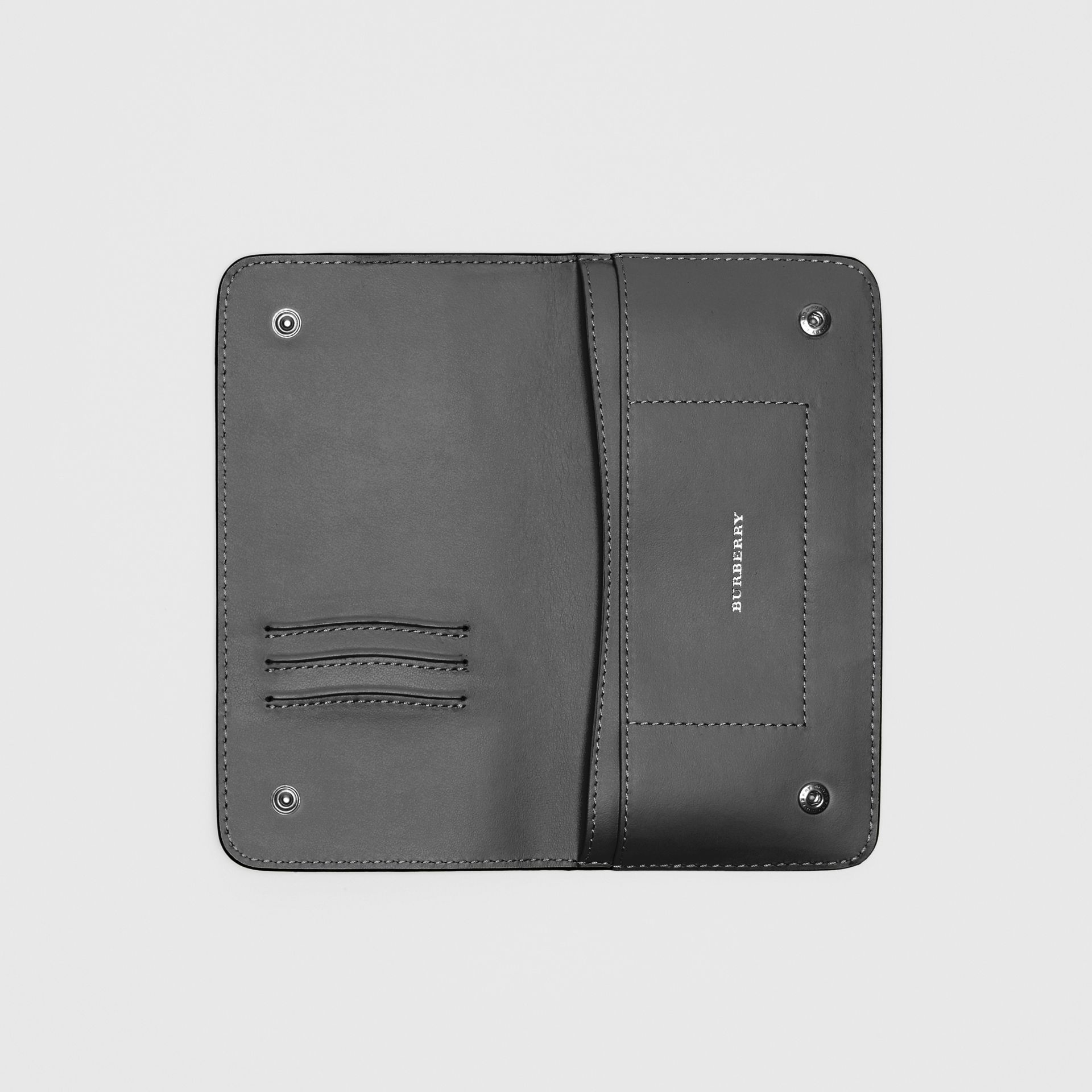 Leather Phone Wallet in Black - Women | Burberry - gallery image 2