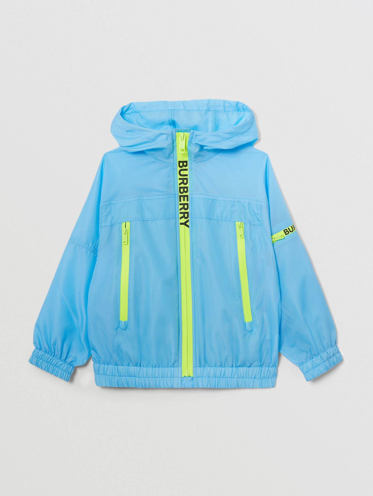 Logo Print Lightweight Hooded Jacket in Turquoise