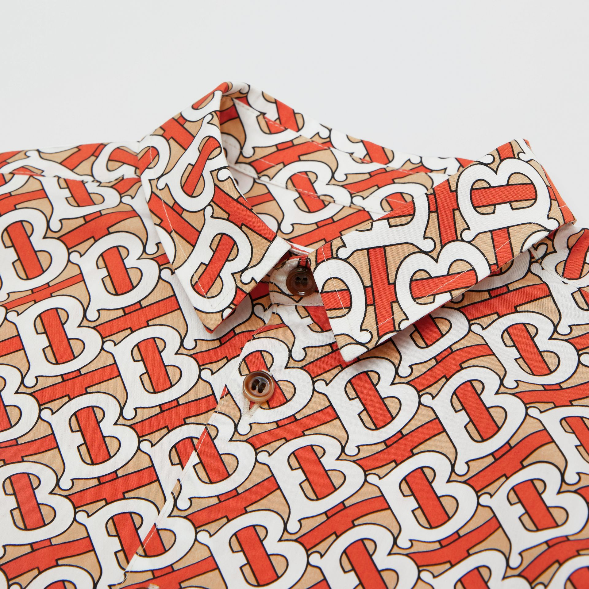 Short-sleeve Monogram Print Cotton Poplin Shirt in Vermilion Red | Burberry - gallery image 1