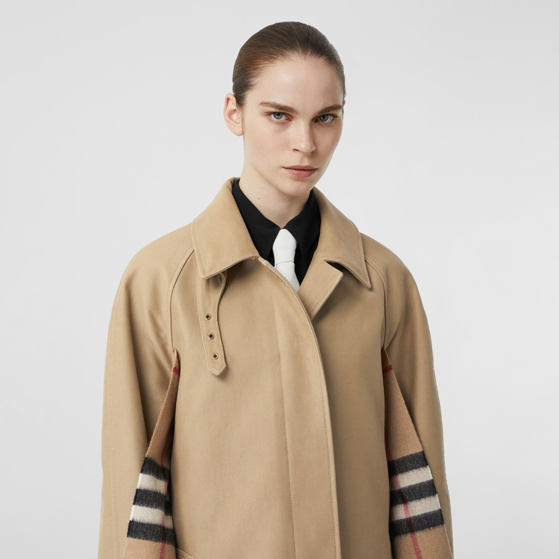 Scarf Detail Cotton Gabardine Car Coat in Honey - Women | Burberry United Kingdom - gallery image 6