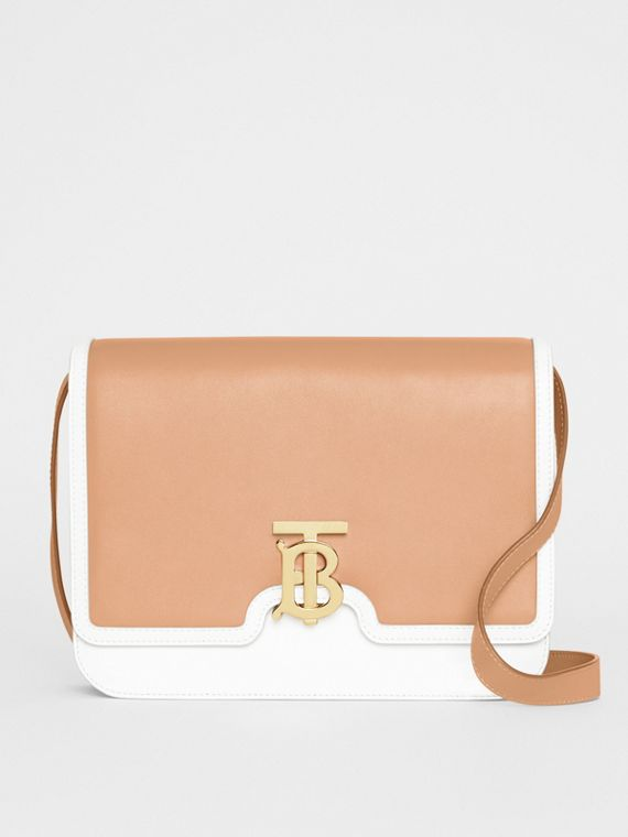 Medium Two-tone Leather TB Bag in Chalk White/light Camel