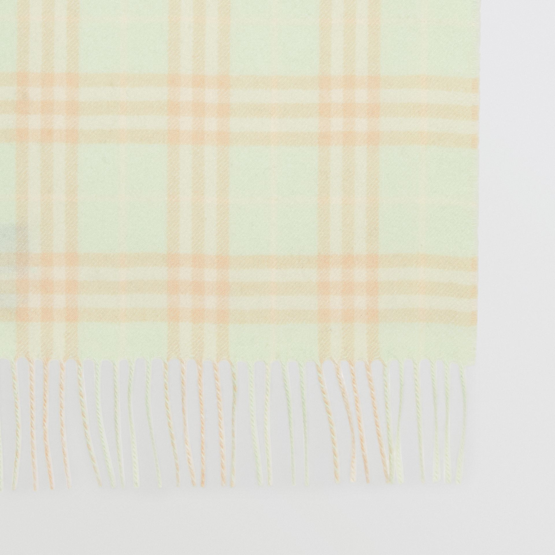 The Classic Vintage Check Cashmere Scarf in Pistachio | Burberry Singapore - gallery image 1