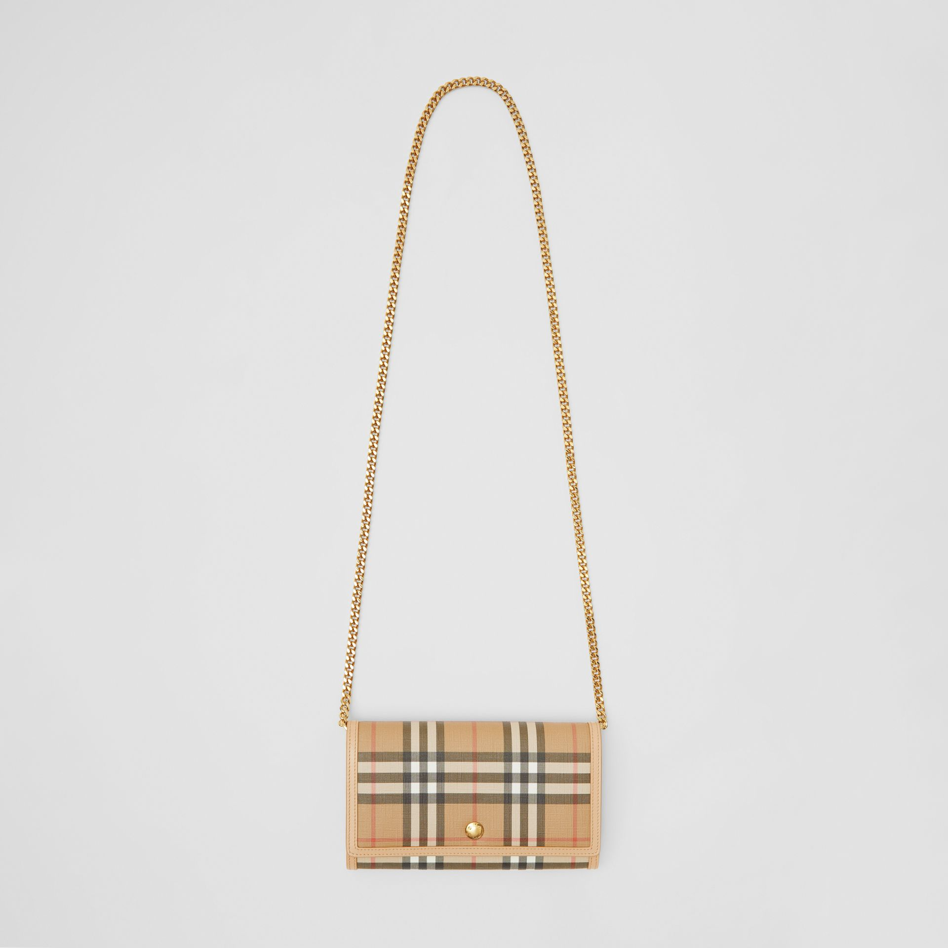 Vintage Check E-canvas Wallet with Detachable Strap in Beige - Women | Burberry - gallery image 8