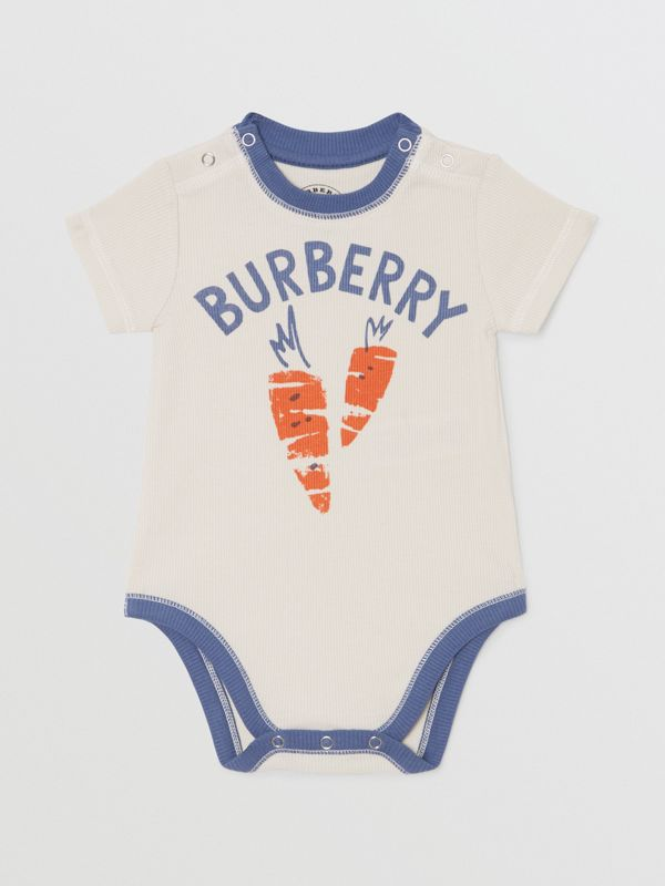 Carrot and Tree Print Three-piece Baby Gift Set in Stone - Children | Burberry - cell image 2