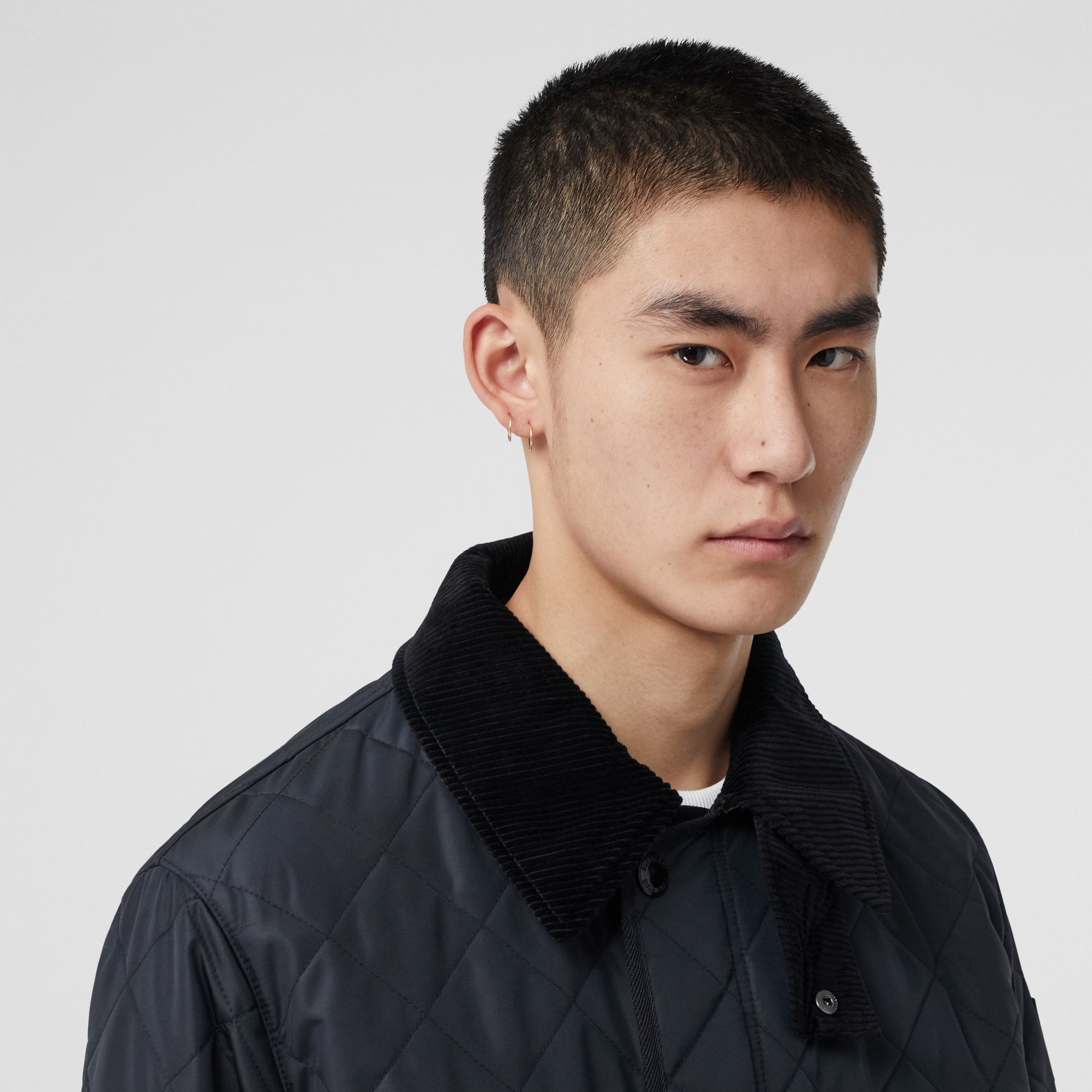 Diamond Quilted Thermoregulated Barn Jacket in Navy - Men | Burberry - gallery image 1