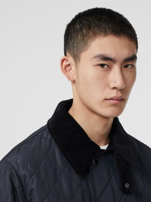 Diamond Quilted Thermoregulated Barn Jacket in Navy - Men | Burberry - cell image 1