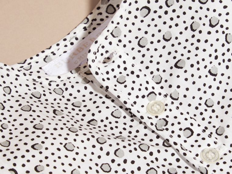 White Painterly Spot Print Cotton Shirt - cell image 1