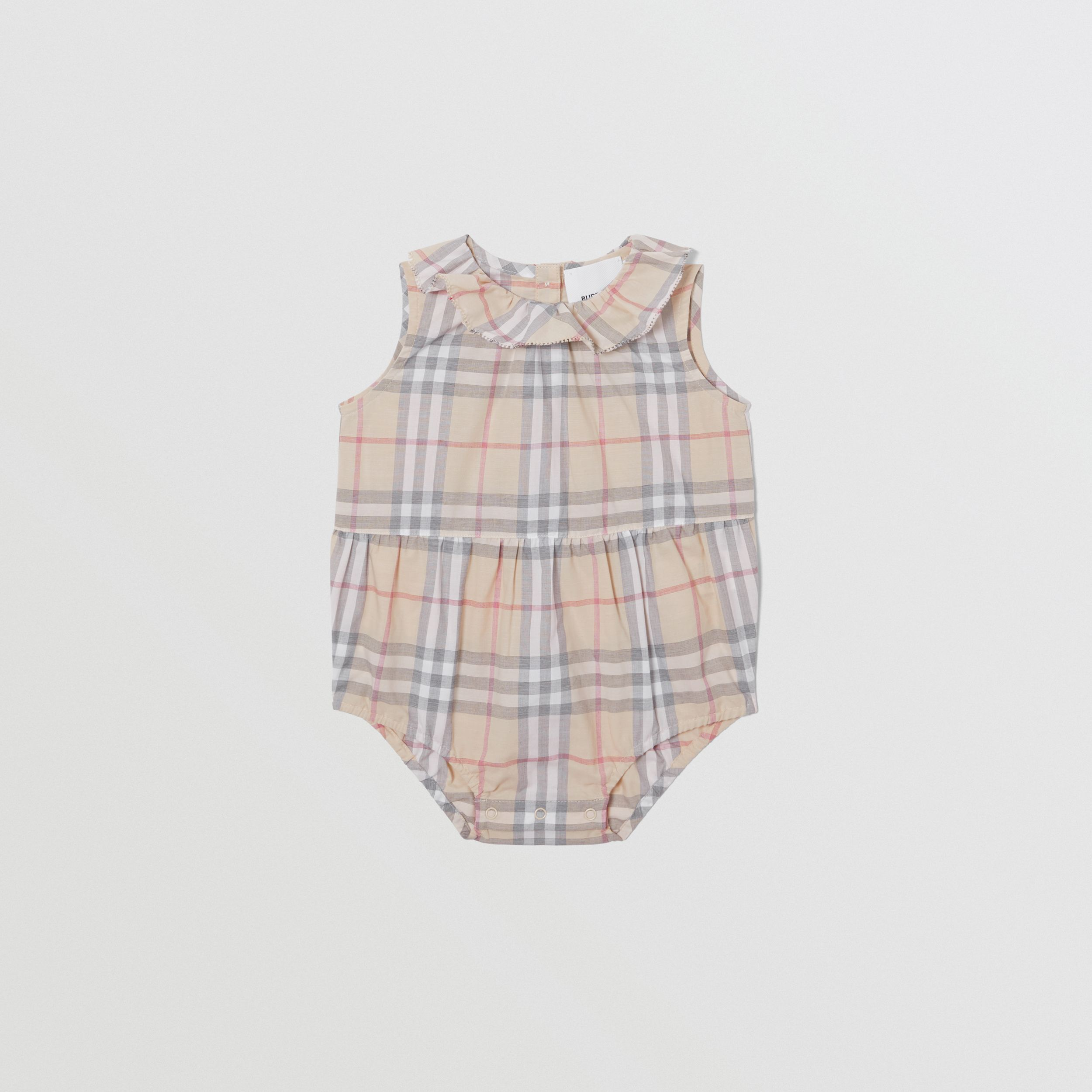 Vintage Check Cotton Three-piece Baby Gift Set in Pale Stone - Children | Burberry United Kingdom - 3