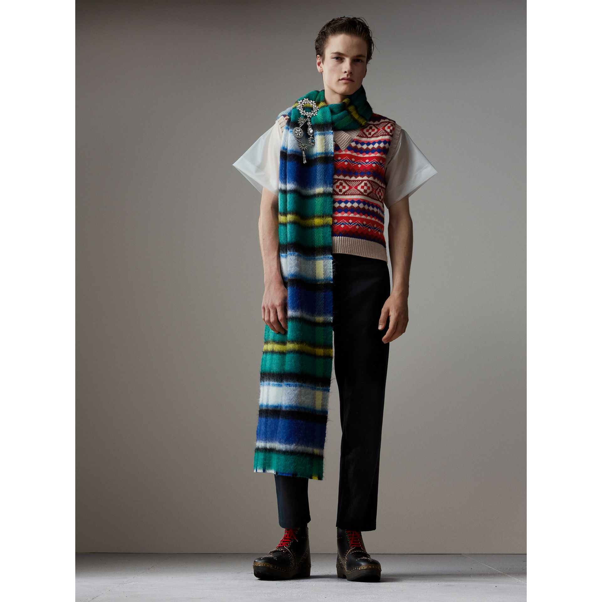 Long Check Wool Mohair Blend Scarf in Cobalt Blue | Burberry - gallery image 3