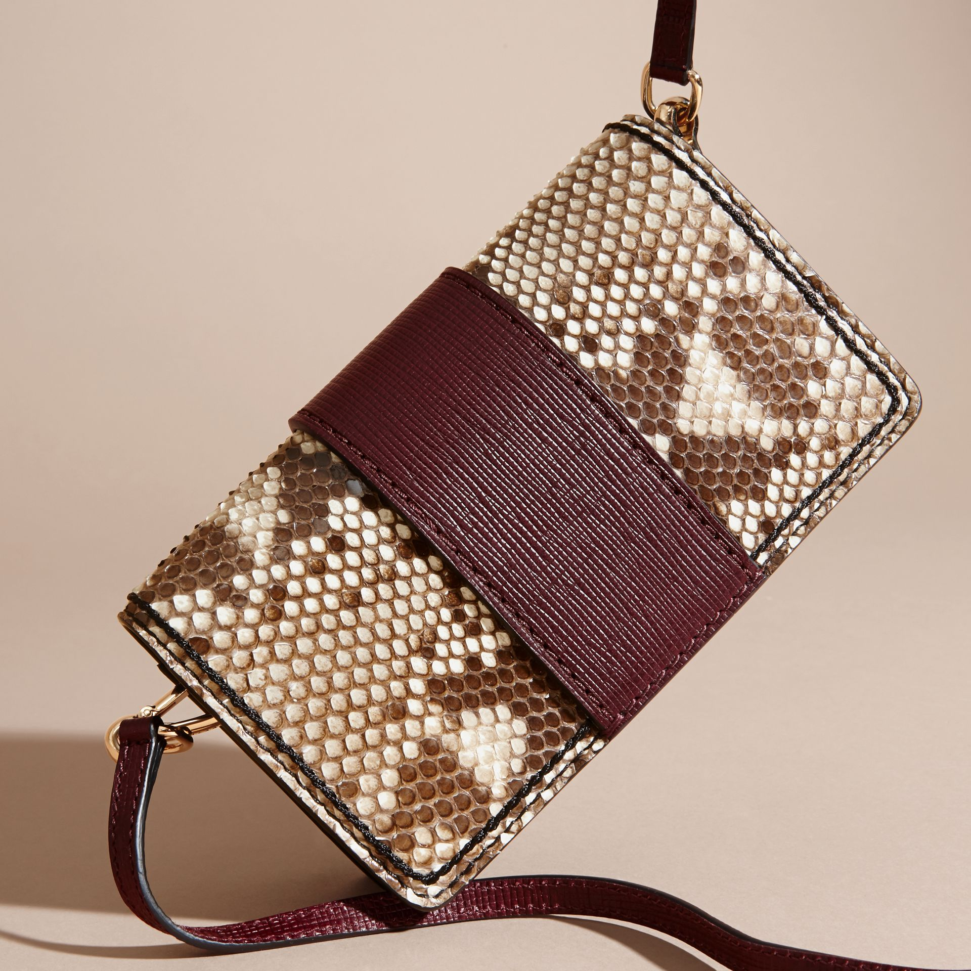 Natural / burgundy The Small Buckle Bag in Python and Leather - gallery image 5