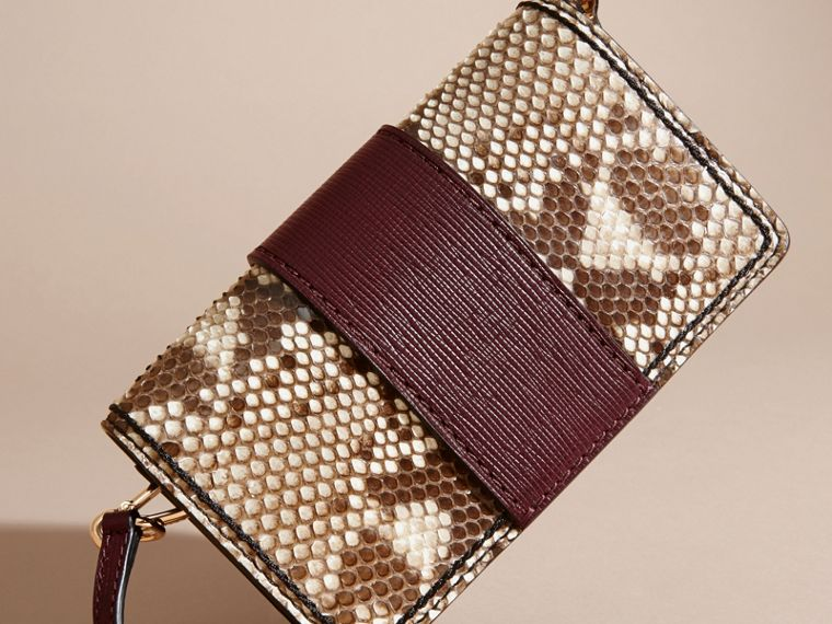 Natural / burgundy The Small Buckle Bag in Python and Leather - cell image 4