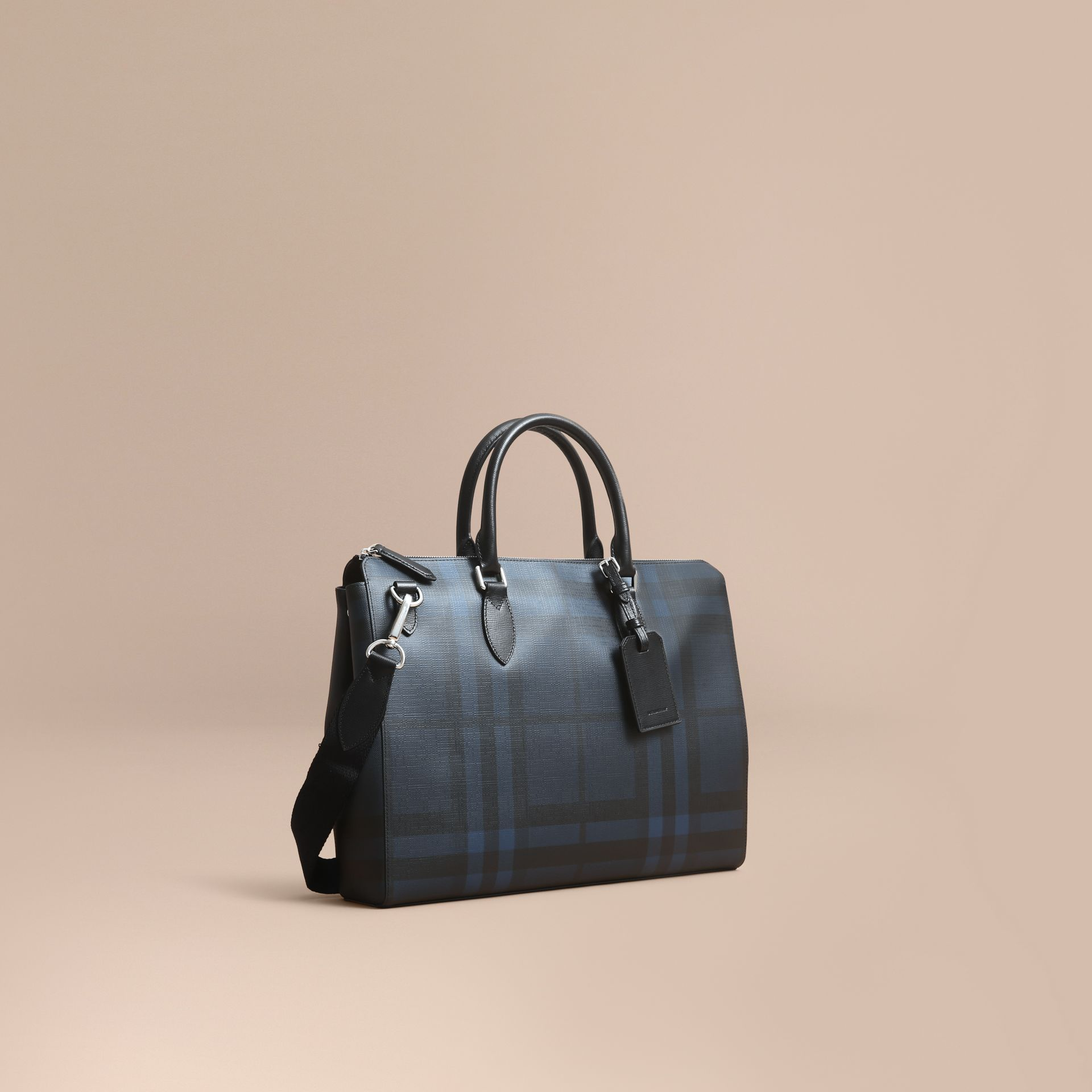 Large London Leather Briefcase in Dark Navy - Men | Burberry - gallery image 1