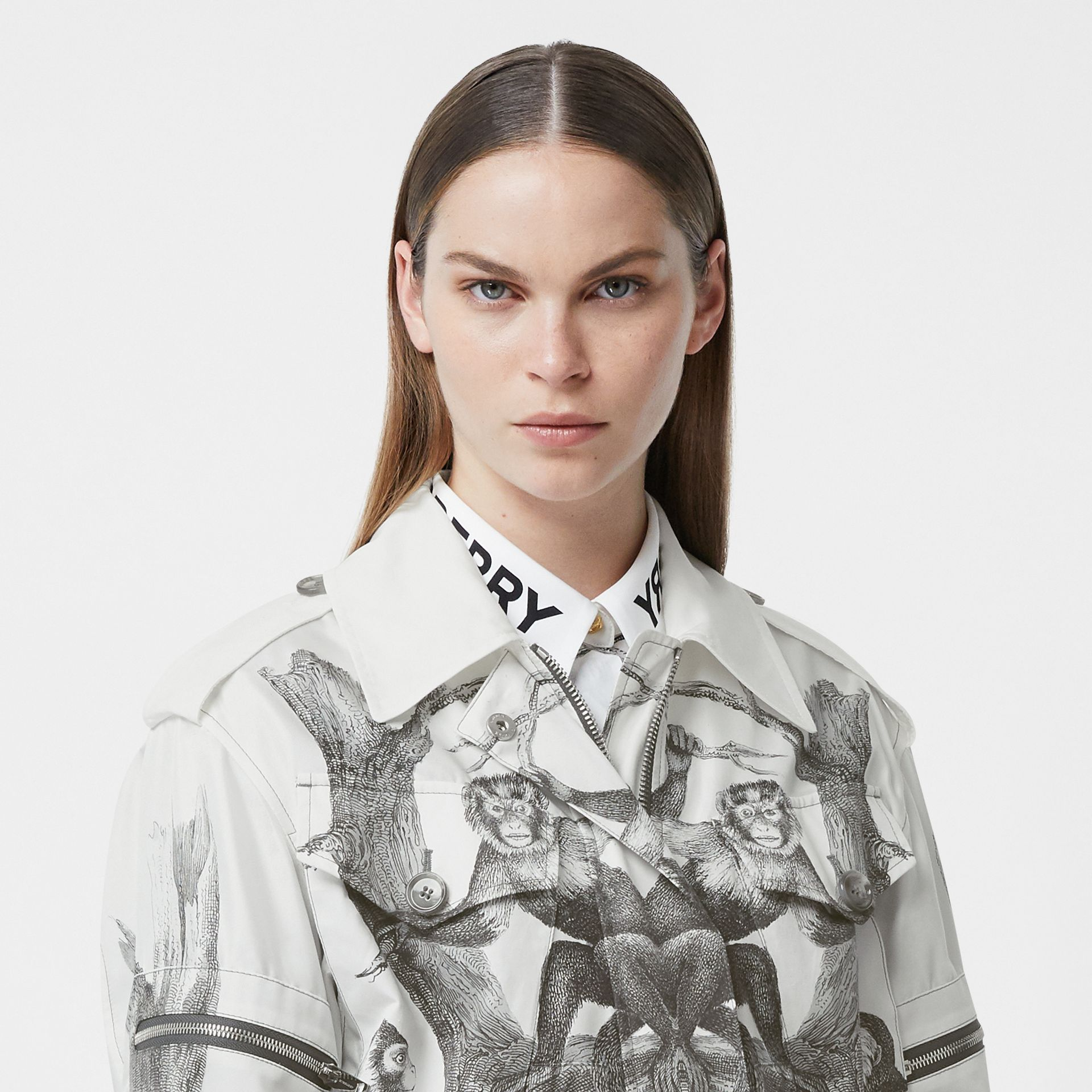 Monkey Print Silk and Cotton Gabardine Field Jacket in Monochrome - Women | Burberry Canada - gallery image 6