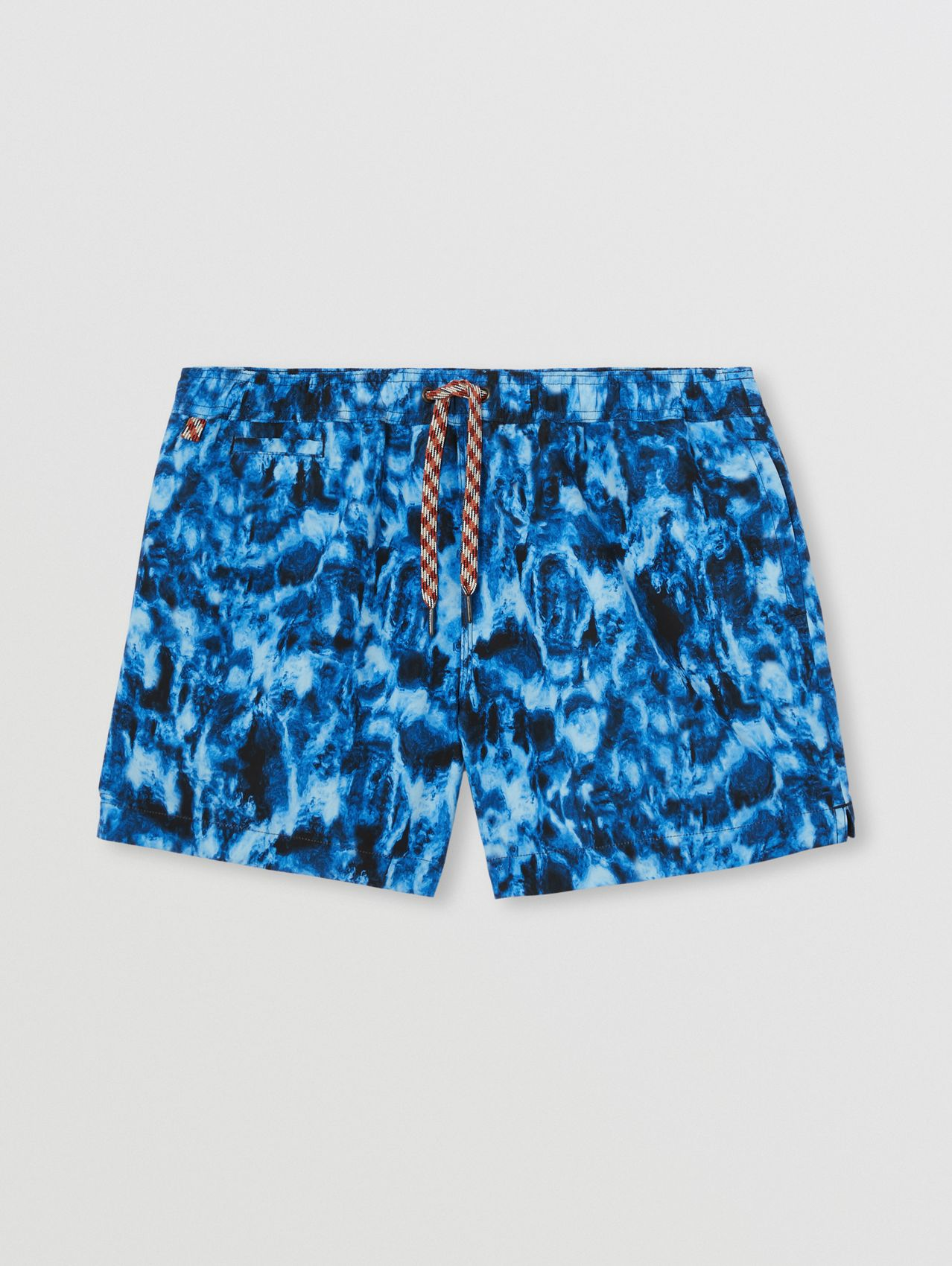 Ripple Print Drawcord Swim Shorts in Midnight Navy