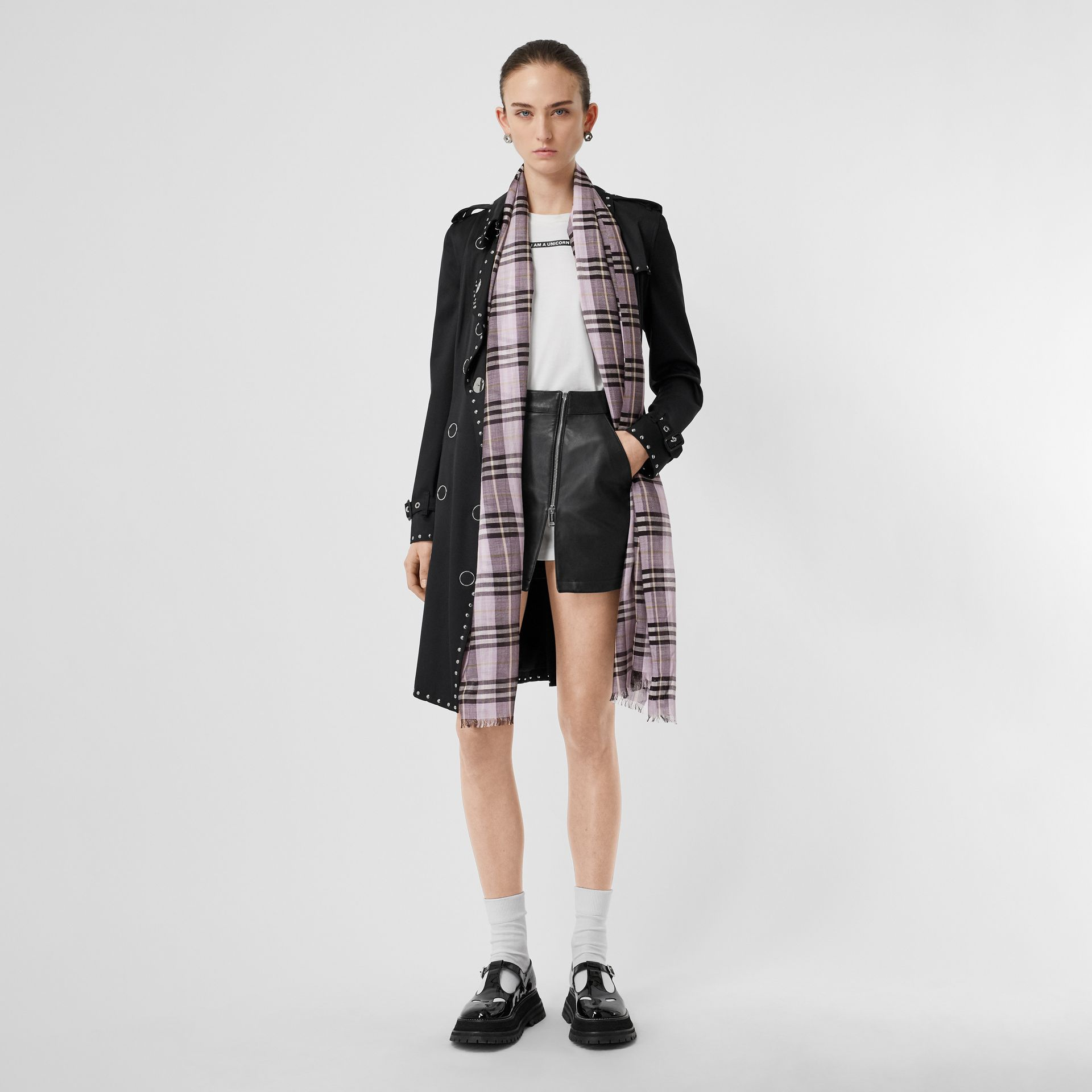 Vintage Check Lightweight Wool Silk Scarf in Lavender | Burberry - gallery image 6