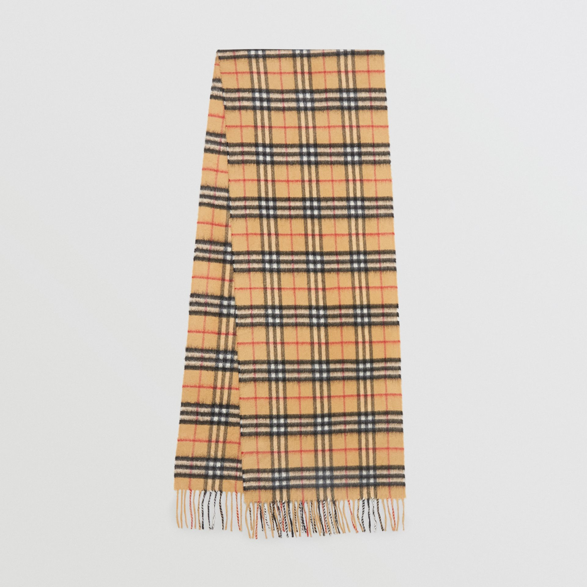The Classic Vintage Check Cashmere Scarf in Antique Yellow | Burberry Australia - gallery image 0