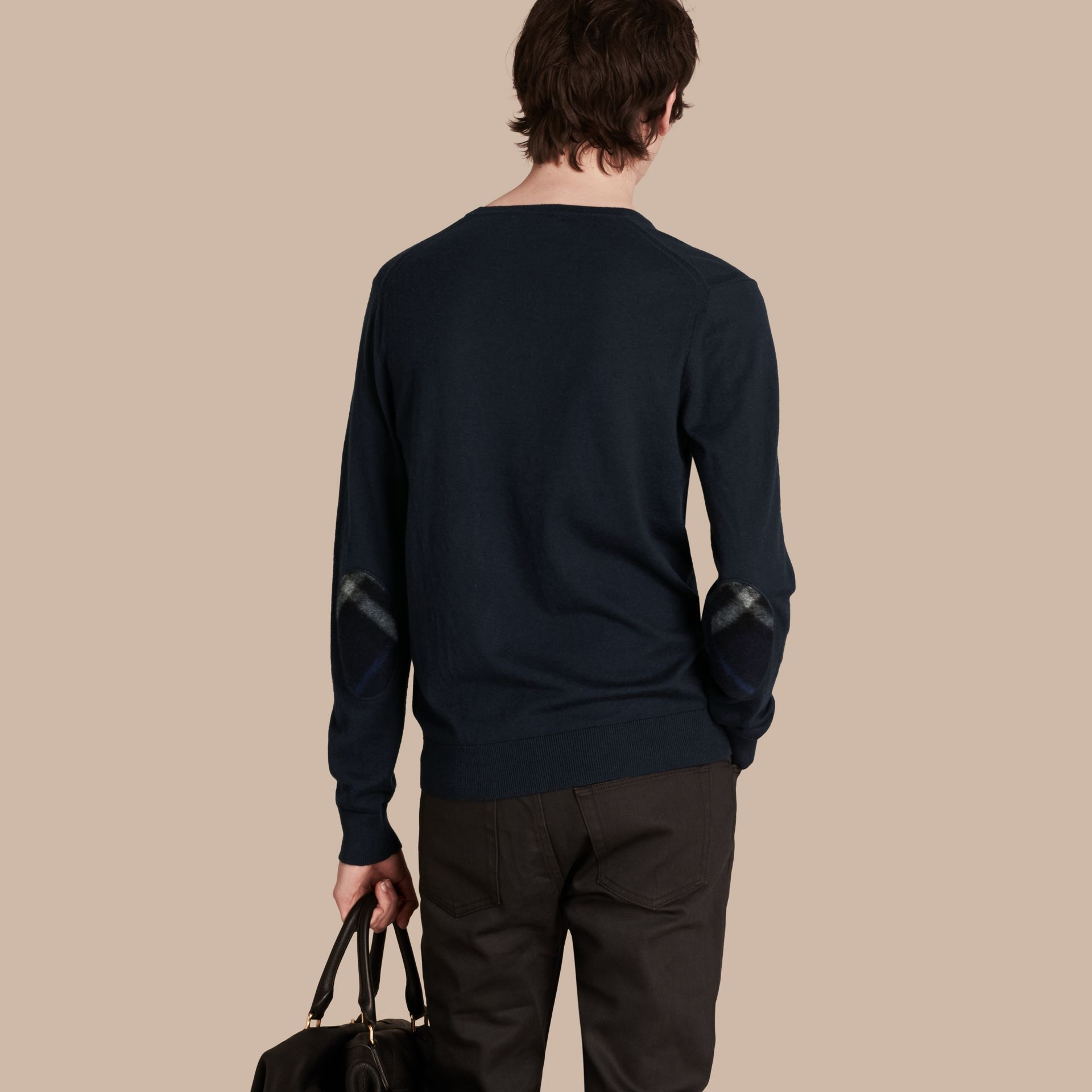 Check Trim Cashmere Cotton Sweater Navy - gallery image 3