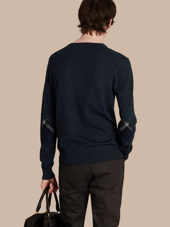 Check Trim Cashmere Cotton Sweater in Navy - Men | Burberry - cell image 2