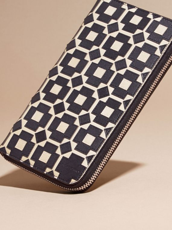 Stone Geometric Appliqué Leather Ziparound Wallet - cell image 2
