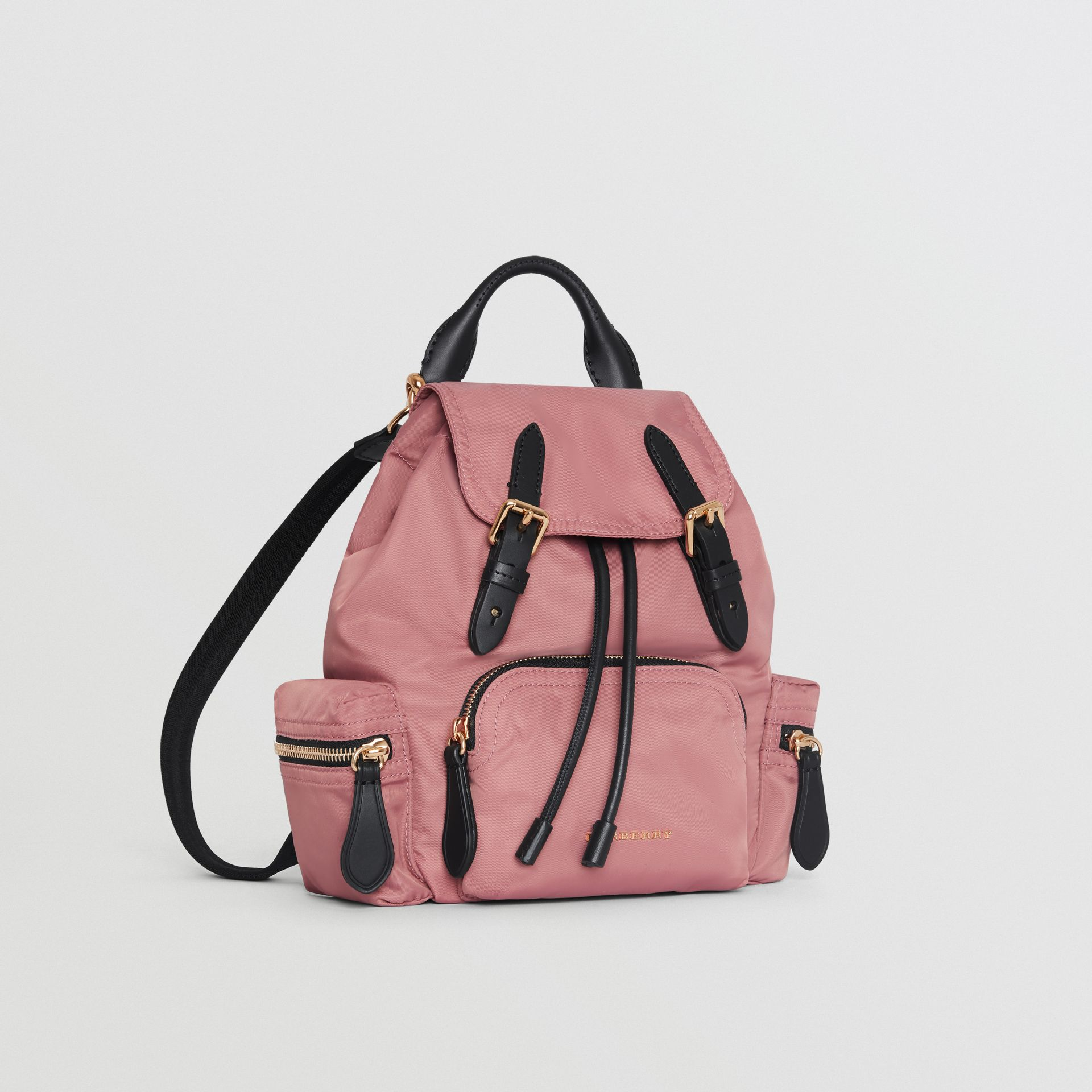 The Small Crossbody Rucksack in Nylon in Mauve Pink - Women | Burberry Canada - gallery image 7