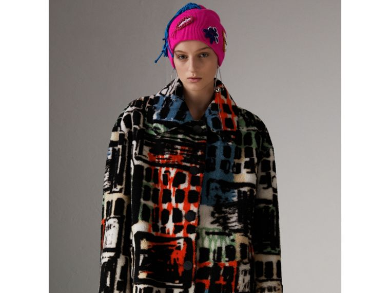 Graffiti Print Shearling Oversized Jacket in Steel Blue - Women | Burberry Hong Kong - cell image 4
