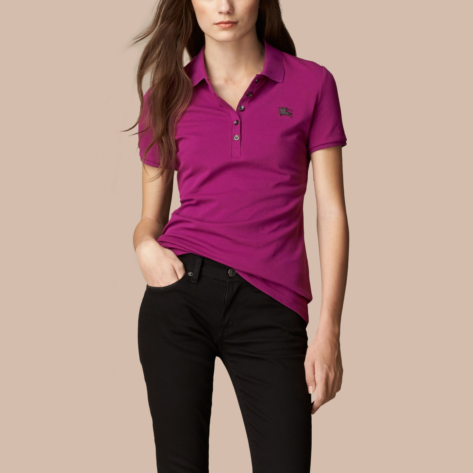 Cotton Piqué Polo Shirt in Magenta Pink - gallery image 3