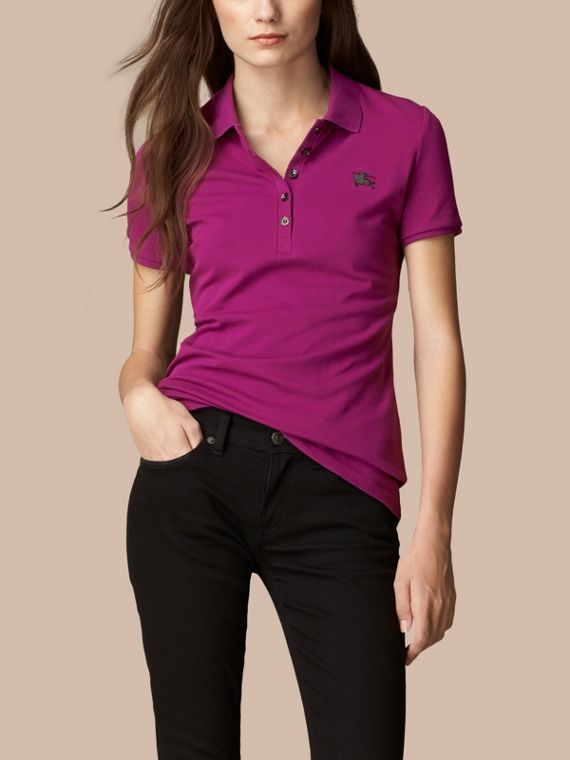 Cotton Piqué Polo Shirt in Magenta Pink - cell image 2