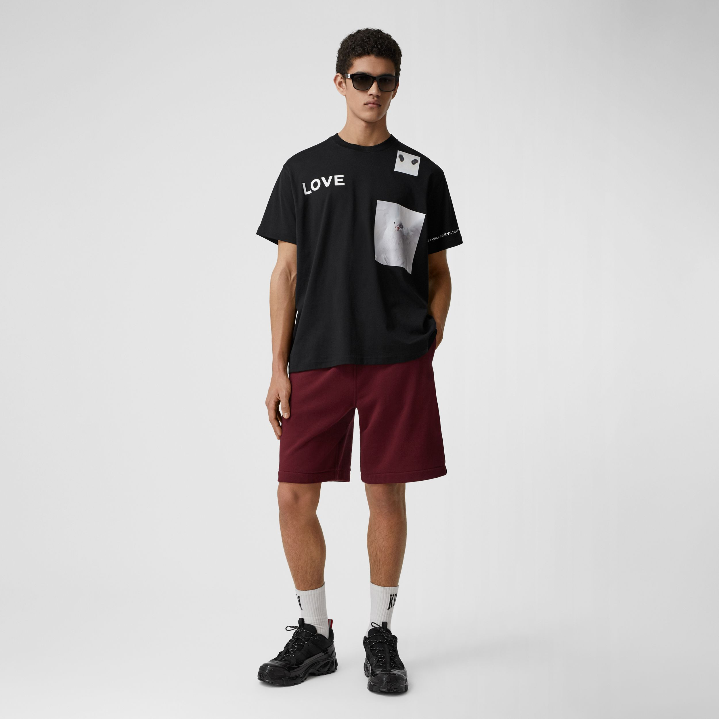 Logo Tape Cotton Drawcord Shorts in Deep Merlot - Men | Burberry Hong Kong S.A.R. - 1