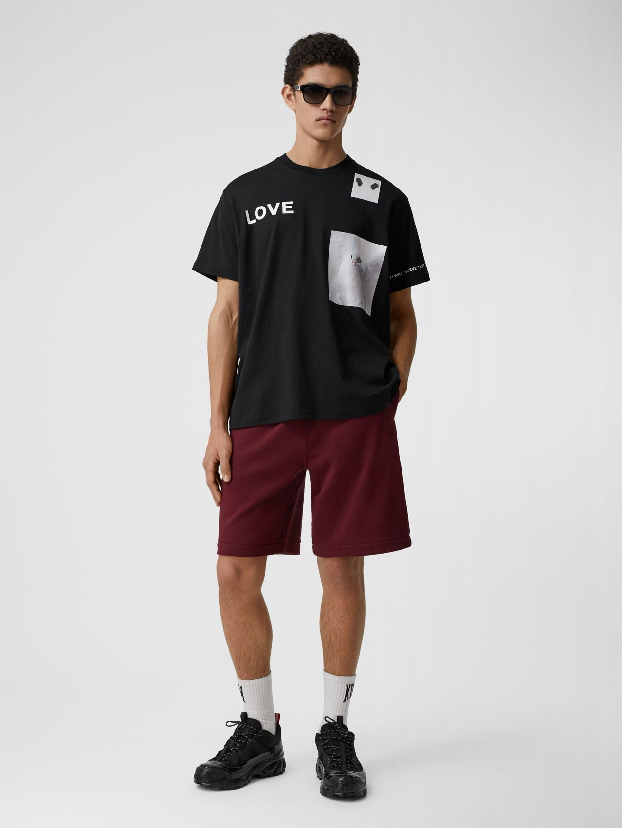 Logo Tape Cotton Drawcord Shorts in Deep Merlot
