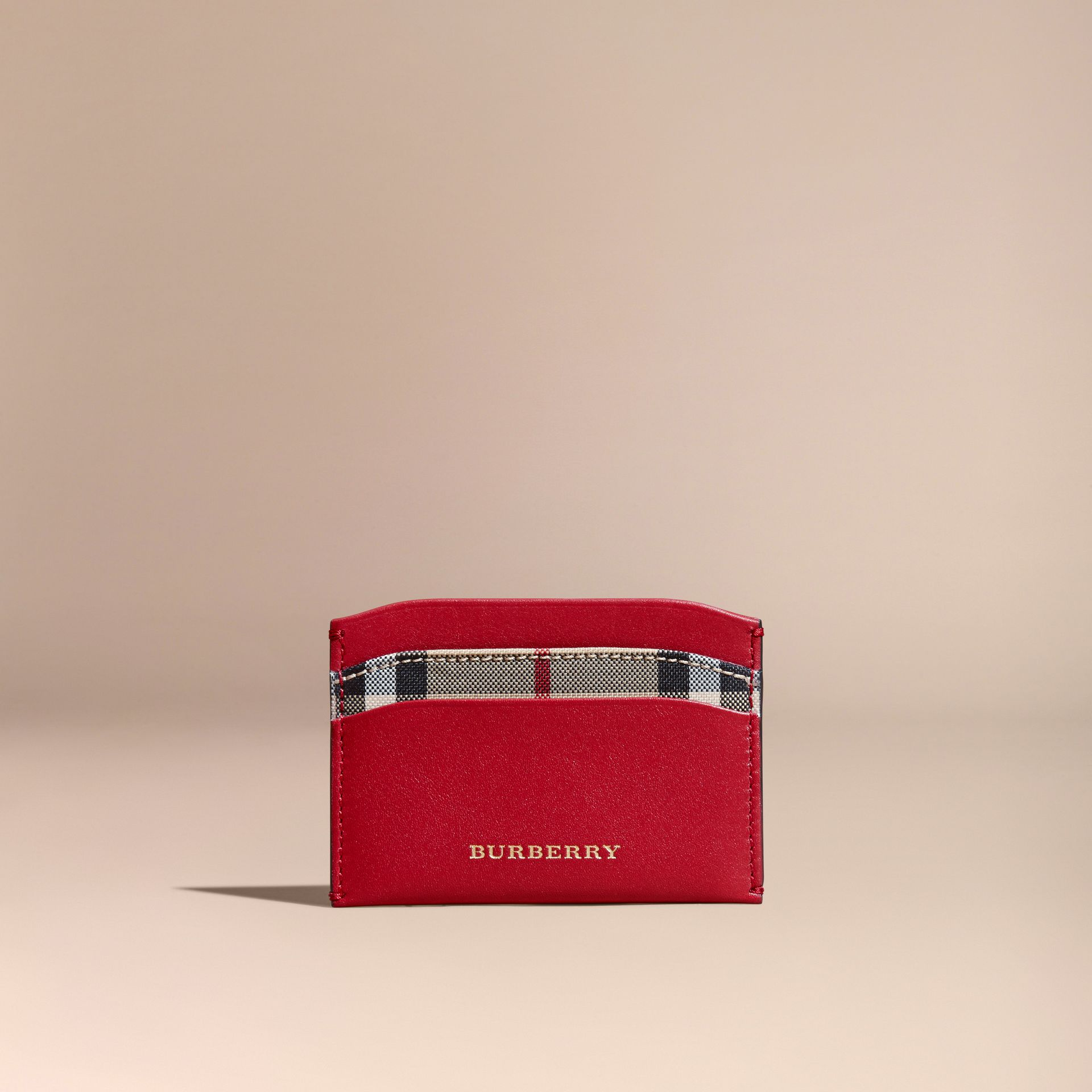 Check and Leather Card Case in Parade Red - Women | Burberry Canada - gallery image 6