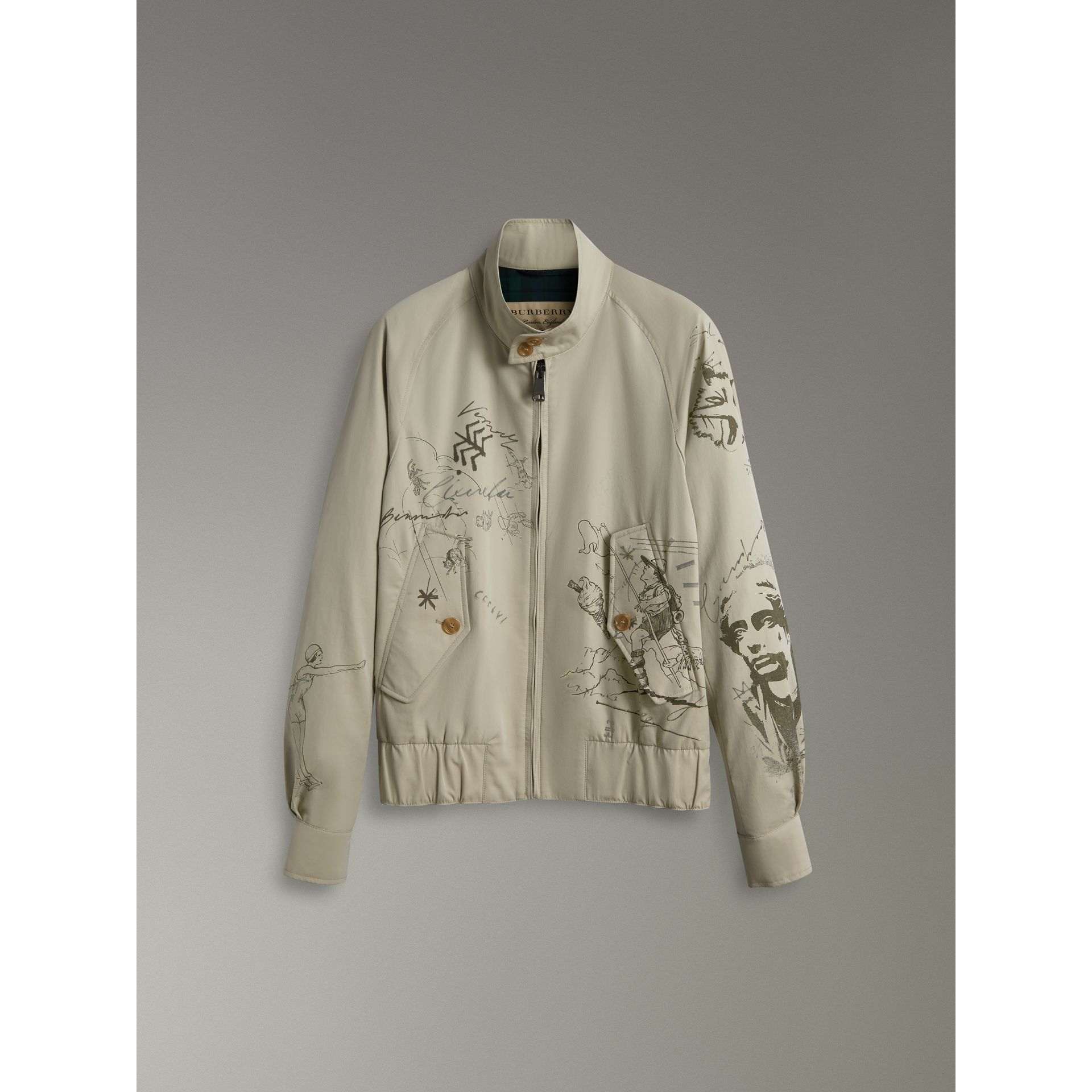 Sketch Print Harrington Jacket in Stone - Men | Burberry United States - gallery image 3