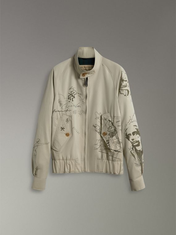 Sketch Print Harrington Jacket in Stone - Men | Burberry Singapore - cell image 3