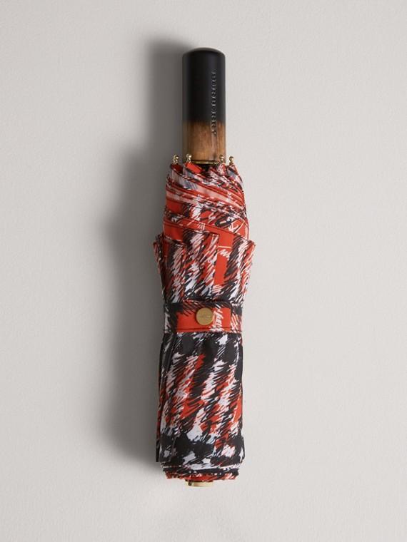 Parapluie télescopique avec imprimé à motif check griffonné (Rouge)