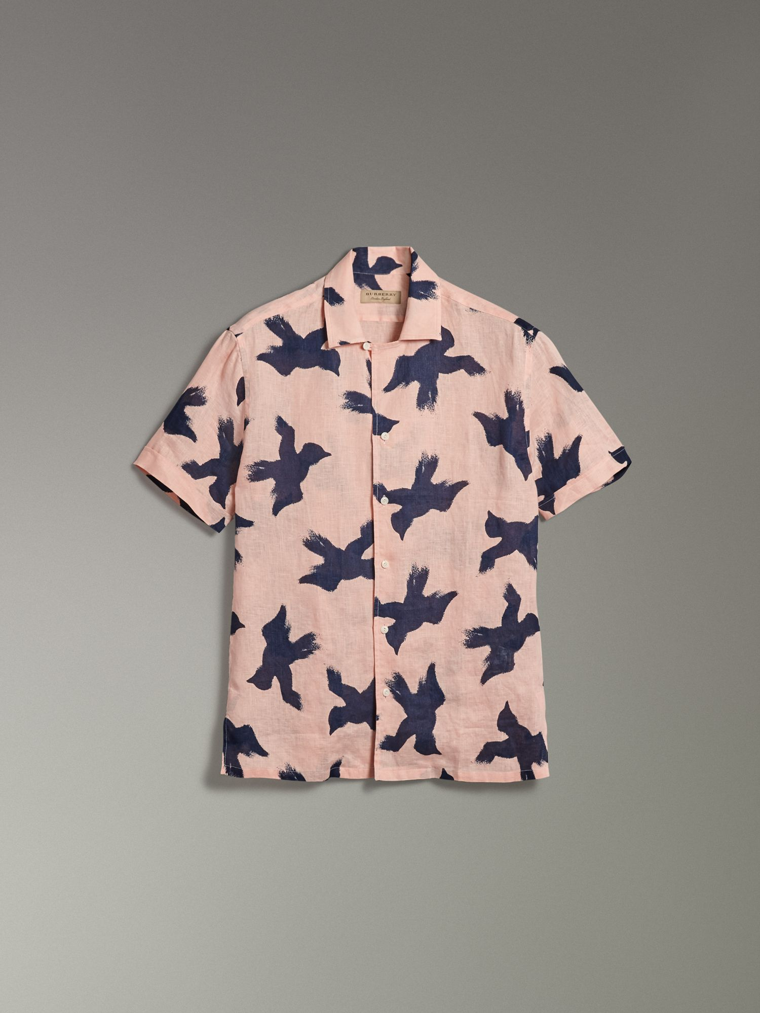 Short-sleeve Bird Print Linen Shirt in Apricot Pink