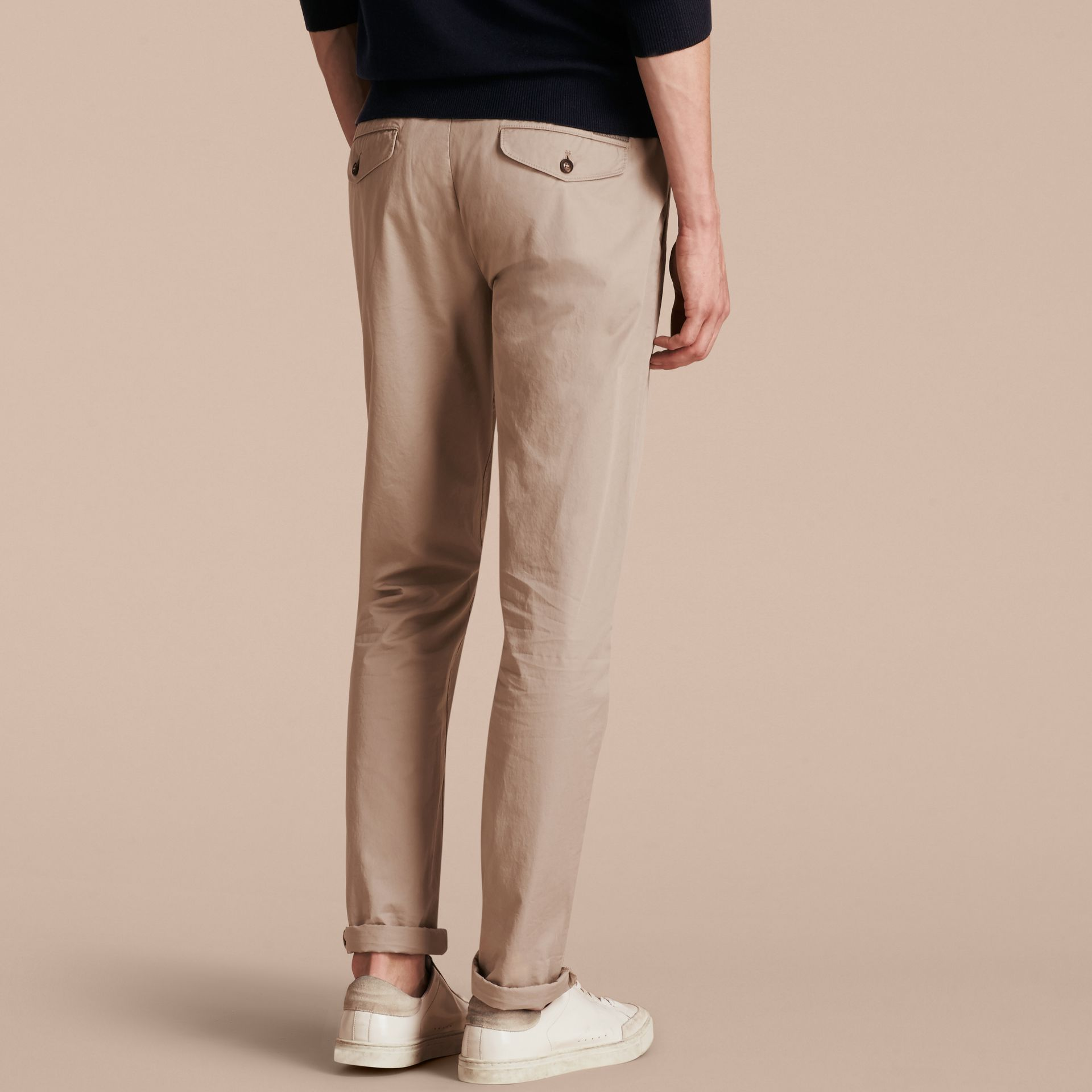 Slim Fit Cotton Chinos in Taupe - Men | Burberry - gallery image 3