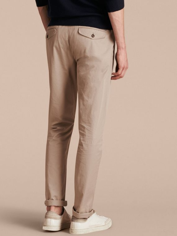 Slim Fit Cotton Chinos in Taupe - Men | Burberry - cell image 2