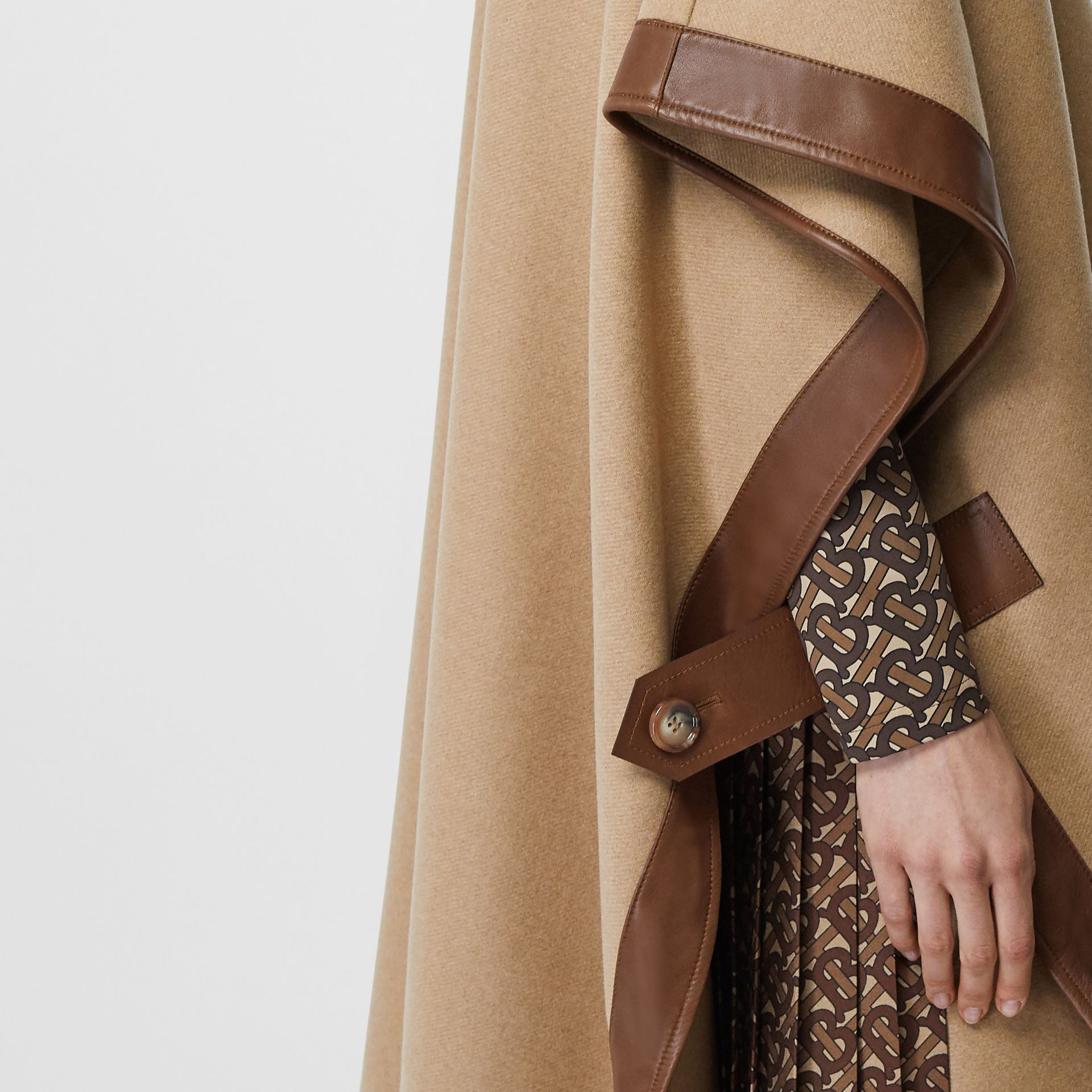 Lambskin Trim Double-faced Cashmere Cape in Camel | Burberry United Kingdom - gallery image 5