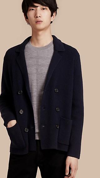Cardigan à double boutonnage en laine et cachemire côtelés