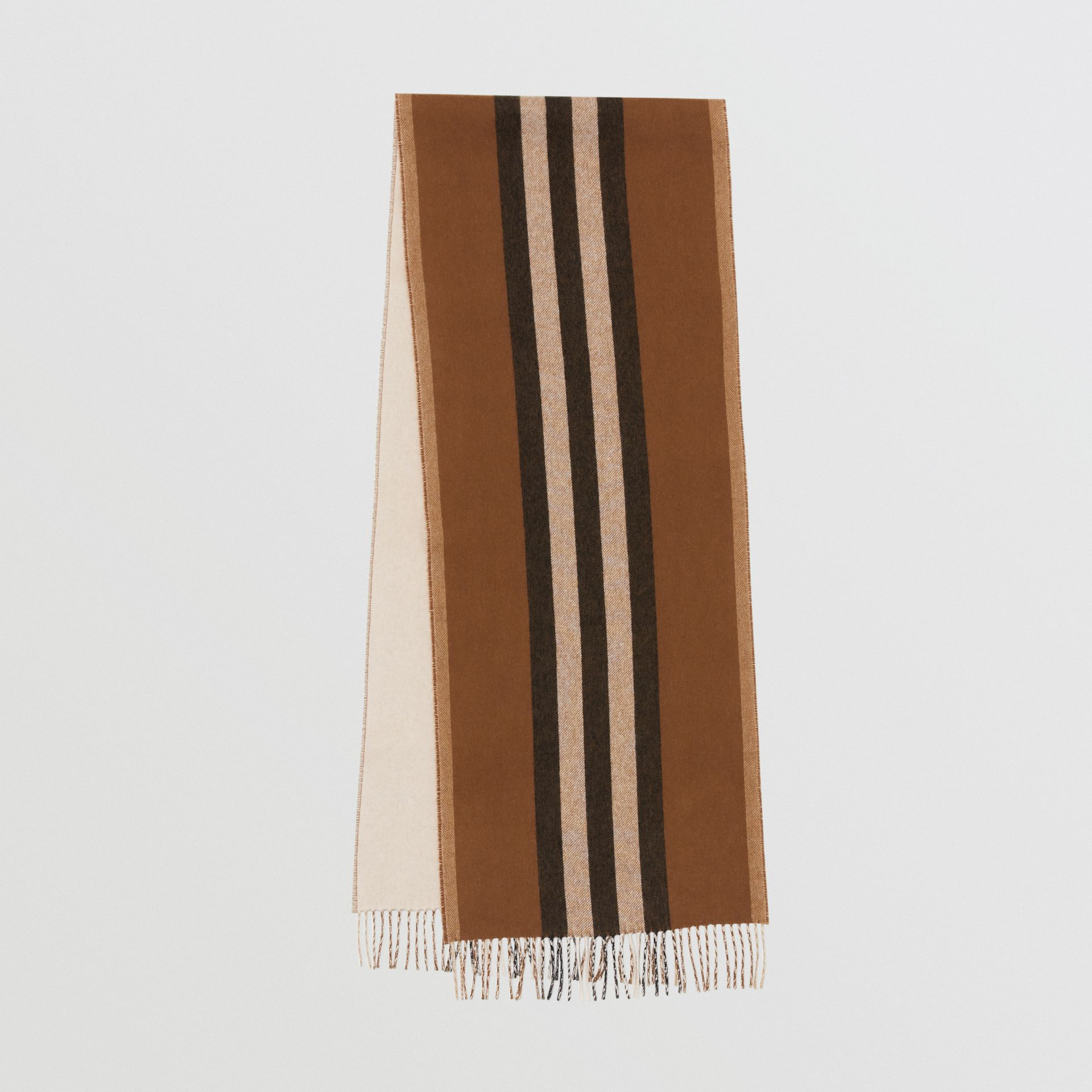 Reversible Icon Stripe Cashmere Scarf in Dark Chestnut Brown | Burberry - gallery image 0