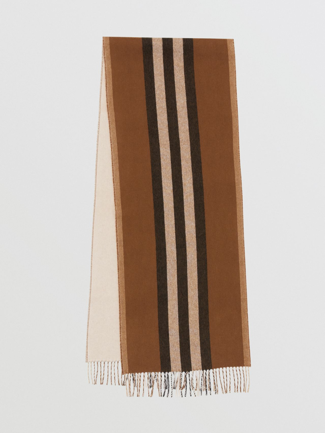 Reversible Icon Stripe Cashmere Scarf in Dark Chestnut Brown