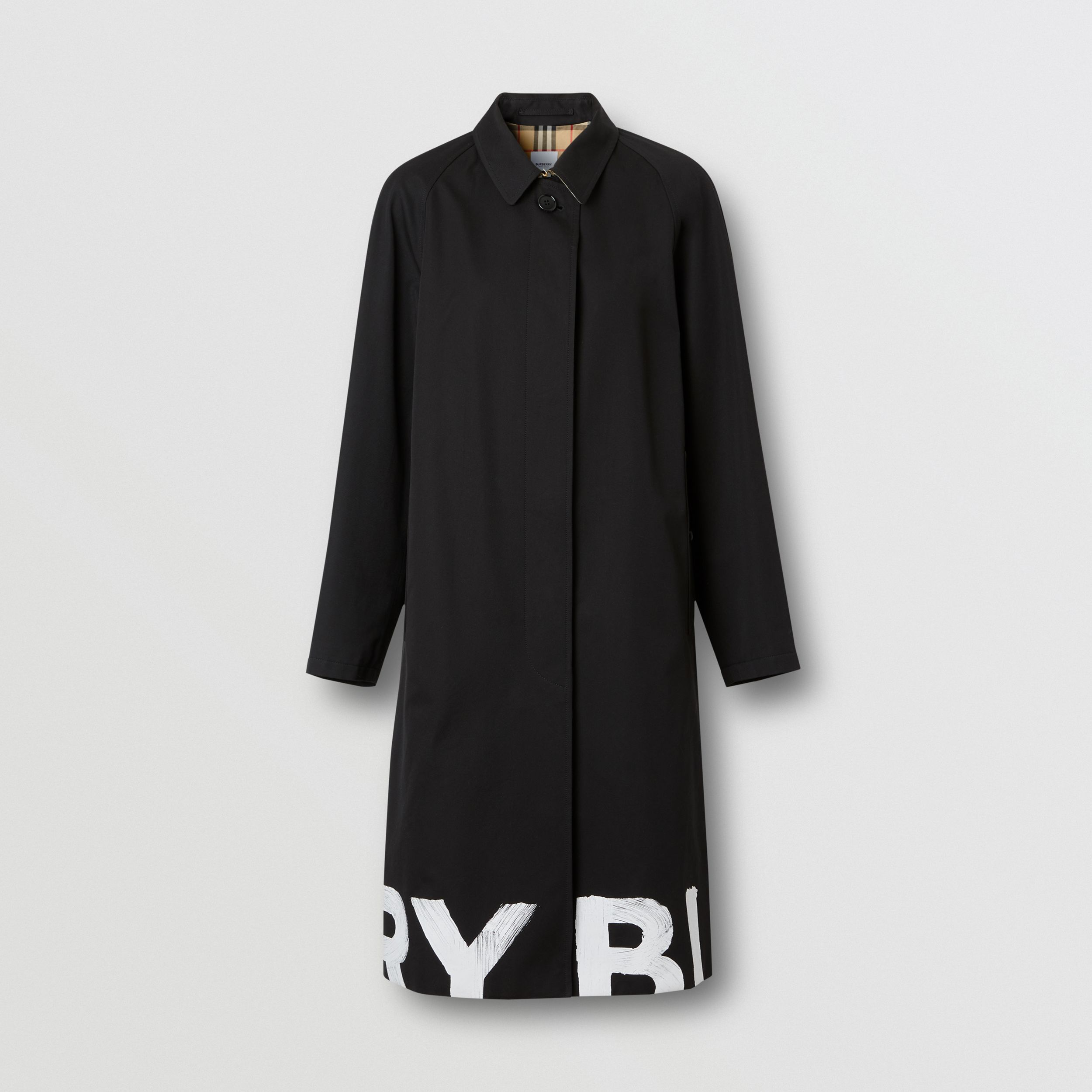 Logo Print Cotton Gabardine Car Coat in Black - Women | Burberry United Kingdom - 4