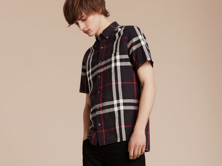 Short-sleeved Check Linen Cotton Shirt in Navy - Men | Burberry - cell image 4